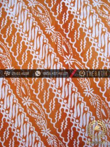 Kain Batik Cap Jogja Motif Parang Seling Kelengan Jingga