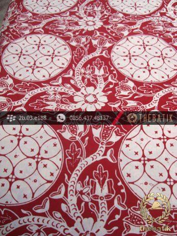 Kain Batik Sutera Cap Motif Ceplok Kembang Kawung Merah