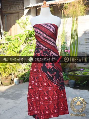 Kain Batik Cap Tulis Jogja Motif Pulau Kombinasi Merah