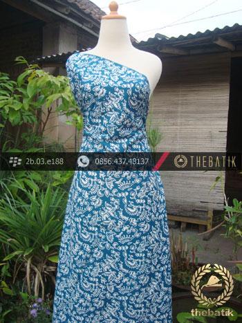 Kain Batik Cap Jogja Motif Burung Kecil Biru Muda