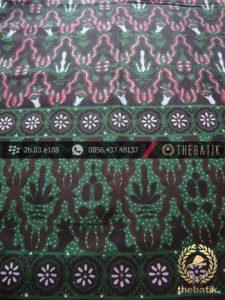 Kain Batik Cap Tulis Jogja Motif Kantil Tumpal Hijau