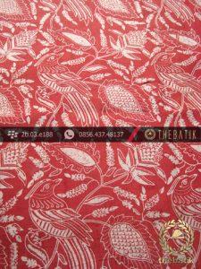 Kain Batik Sutera Motif Burung Kontemporer Merah