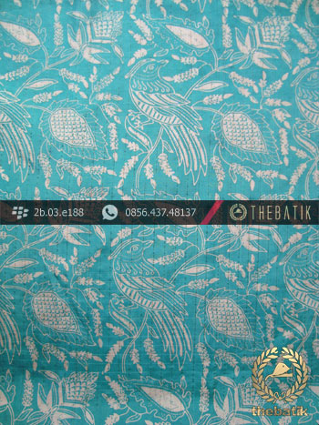 Kain Batik Sutera Jogja Motif Burung Kontemporer Tosca