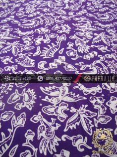 Kain Batik Cap Yogya Motif Burung Kecil Ungu Kelengan