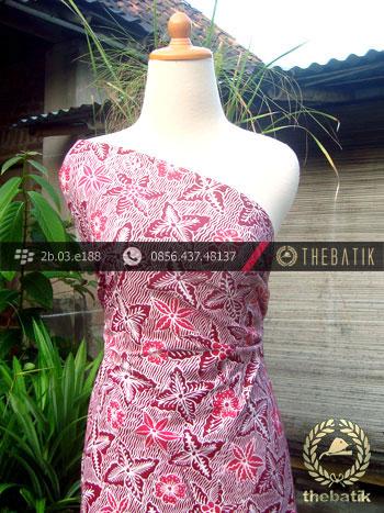 Kain Batik Tulis Yogyakarta Motif Bantulan Merah Pink