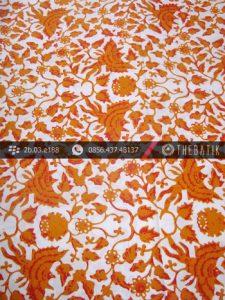 Kain Batik Cap Yogyakarta Motif Burung Jingga