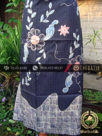 Batik Tulis Sutera Coletan Jogja Motif Buketan Latar Biru-2