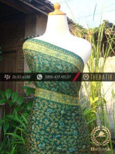 Batik Tulis Lasem Sutera Motif Ukel Hijau Emas