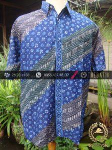 Kemeja Batik Seragam Motif Parang Kontemporer Biru-5