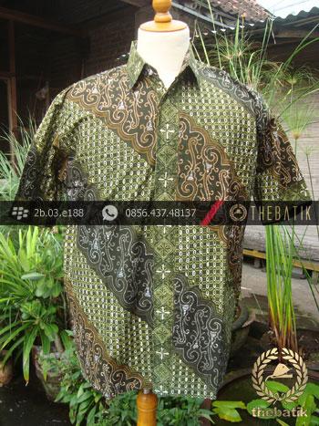 Kemeja Batik Seragam Motif Parang Kontemporer Hijau-3