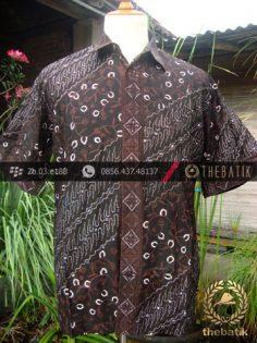 Kemeja Batik Seragam Motif Parang Kontemporer Hitam-2
