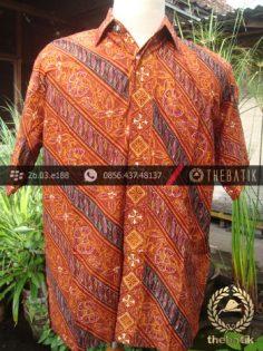 Kemeja Batik Seragam Motif Parang Kontemporer Jingga-2