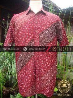 Kemeja Batik Seragam Motif Parang Kontemporer Merah-1