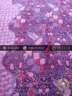 Bahan Batik Paris Motif Coletan Kontemporer Ungu