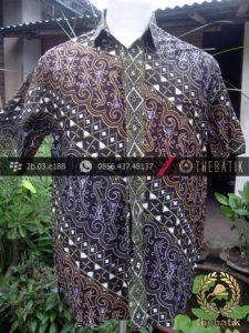 Kemeja Batik Seragam Motif Parang Kontemporer Biru Hijau