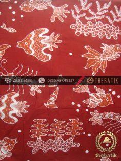 Kain Batik Tulis Yogya Motif Ikan Merah Bata