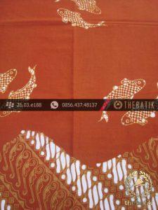 Kain Batik Cap Jogja Motif Ikan Seling Parang Jingga