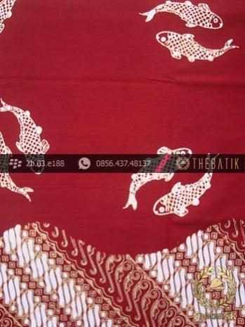 Kain Batik Cap Jogja Motif Ikan Seling Parang Merah