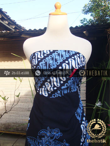 Kain Batik Cap Tulis Jogja Motif Pulau Kombinasi Parang Biru
