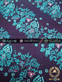 Kain Batik Cap Tulis Jogja Motif Daun Anggur Hijau Biru