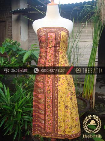 Sarung Batik Tulis Cirebon Motif Buketan Kuning Peach
