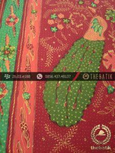 Sarung Batik Tulis Cirebon Motif Merak Hijau Peach