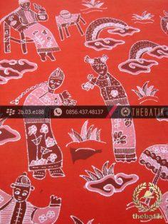 Batik Tulis Cirebon Motif Kumpeni Tionghoa Merah