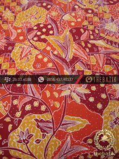 Batik Tulis Cirebon Motif Sekar Jagad Kuning Merah