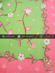 Batik Tulis Cirebon Motif Buketan Sulur Hijau Pink