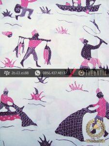 Batik Kumpeni Tulis Motif Nelayan Ungu Latar Putih