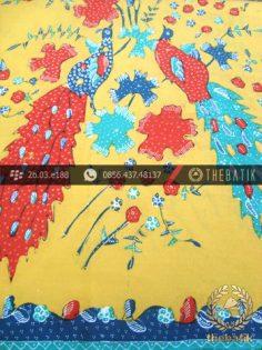 Batik Tulis Cirebon Motif Burung Merak Latar Kuning