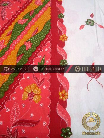 Sarung Batik Tulis Cirebon Motif Buketan Tumpal Pink