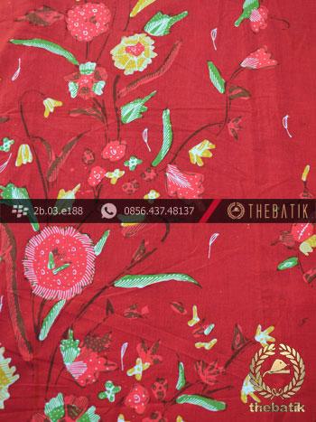 Batik Tulis Cirebon Motif Buketan Merah
