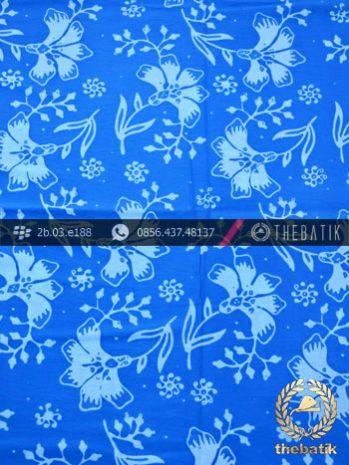 Kain Batik Cap Motif Ceplok Kembang Biru Muda