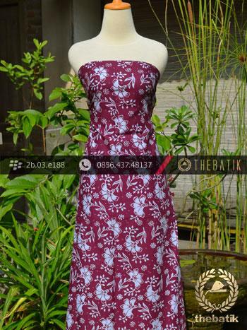 Kain Batik Cap Motif Ceplok Kembang Marun