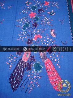 Batik Tulis Cirebon Motif Burung Latar Biru