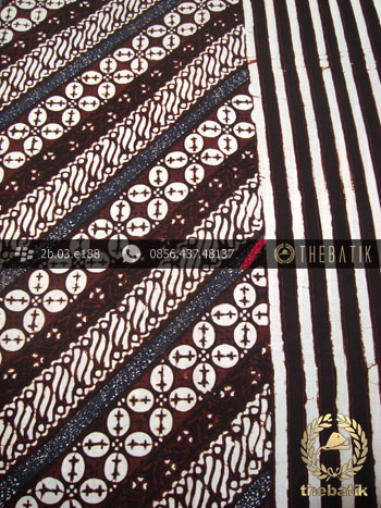Kain Batik Cap Motif Parang Kawung Seling Garis