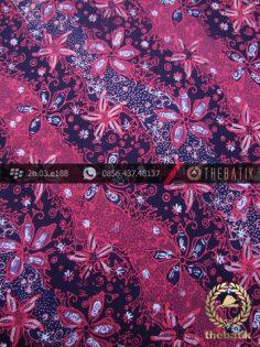 Kain Batik Sutera Motif Bunga Pink Hitam