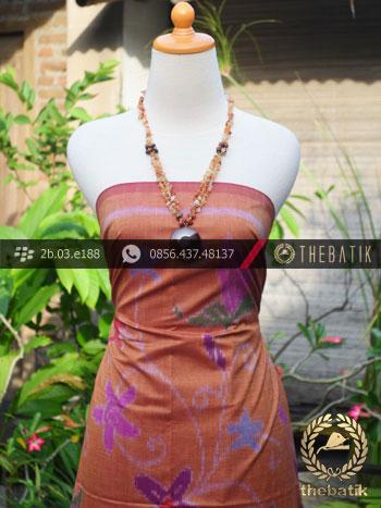 Kain Tenun Indonesia Motif Bouquet Coklat