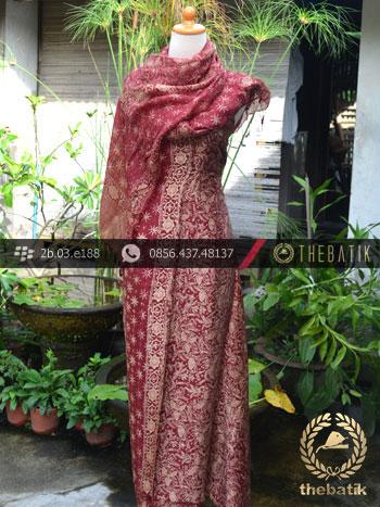 Bahan Sarimbit Batik Sutera Motif Pesisiran Maroon