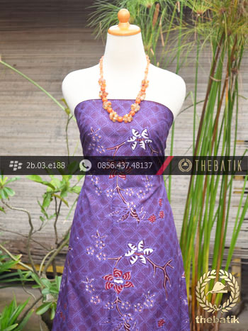 Kain Batik Tulis Jogja Motif Buket Anyaman Ungu