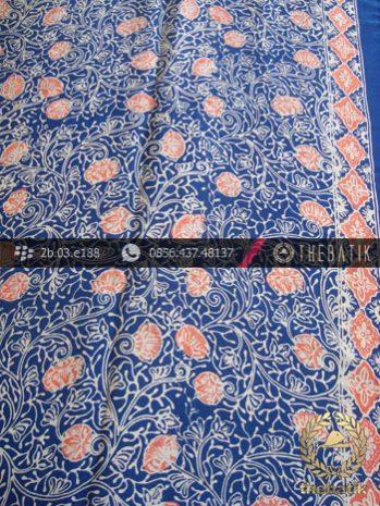 Kain Batik Sutera Motif Coletan Latar Biru Lawasan