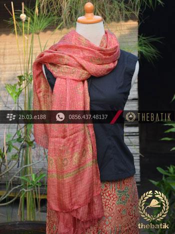 Sarung Selendang Batik Sutera Motif Sekarjagad Jingga