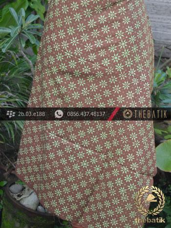 Batik Cap Motif Kembang Tanjung Coklat Hijau