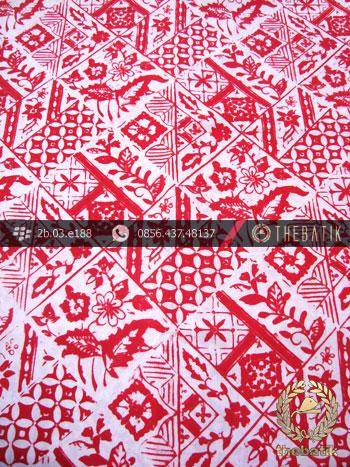 Batik Cap Motif Tambal Bouquet Merah Kelengan