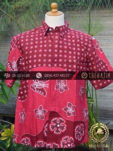 Kemeja Batik Tulis Motif Pulau Remukan Merah