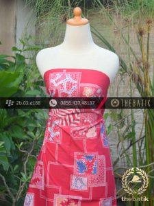Kain Batik Tulis Motif Abstrak Merah