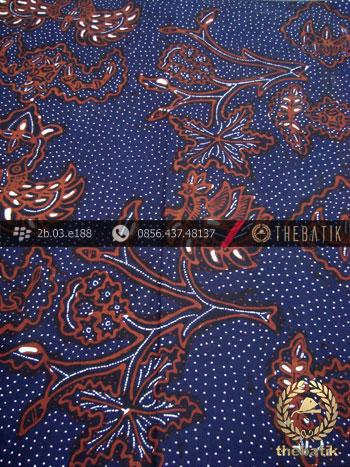Kain Batik Tulis Motif Wahyu Tumurun Latar Biru Dongker