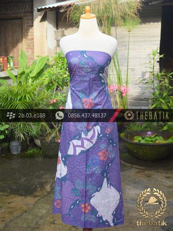Batik Cap Tulis Pesisir Motif Pulau Kombinasi Ungu