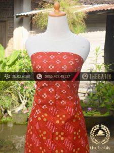 Batik Cap Tulis Motif Pulau Kombinasi Merah Jingga